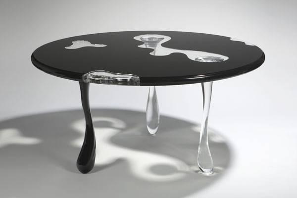 Table bois et plexiglas
